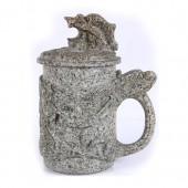 麦饭石水杯 中号雕图龙杯